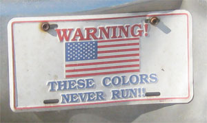 Front license plate on the old Nissan since 9/11