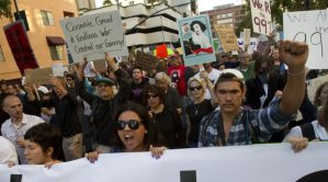 Protesters marching on October 7, 2011 at the start of the Occupy San Diego movement (Nelson C. Cepeda)