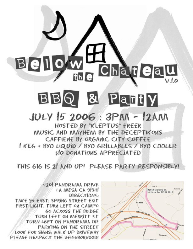 Below the Chateau Party Flyer